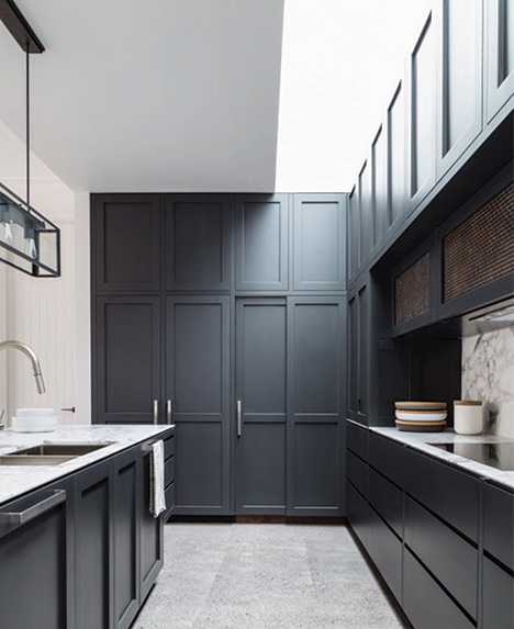 Grey & marble them kitchen side view