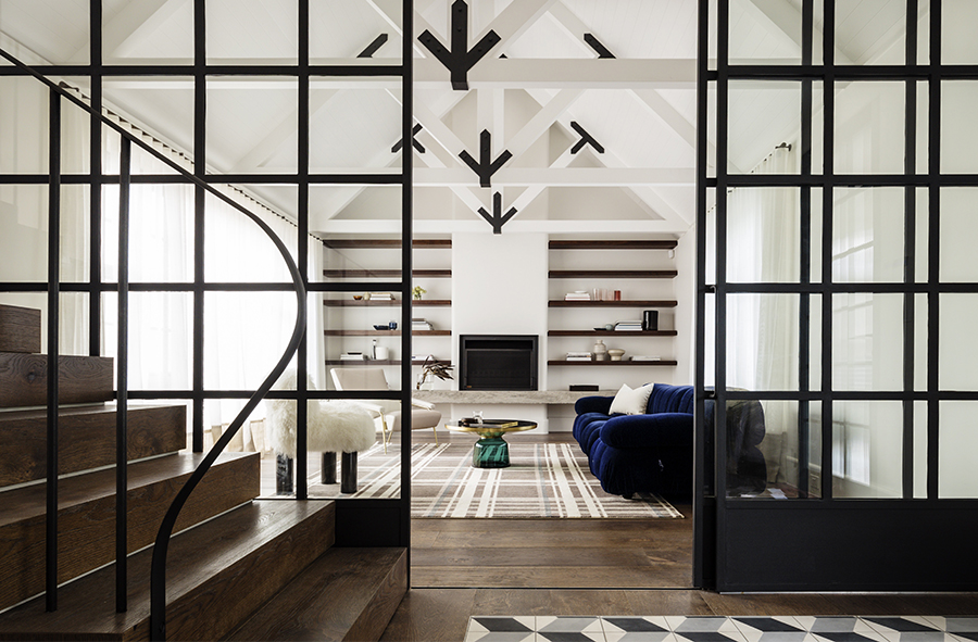 Open plan living room with white theme & wooden floor