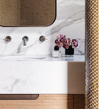 Close up of marble sink