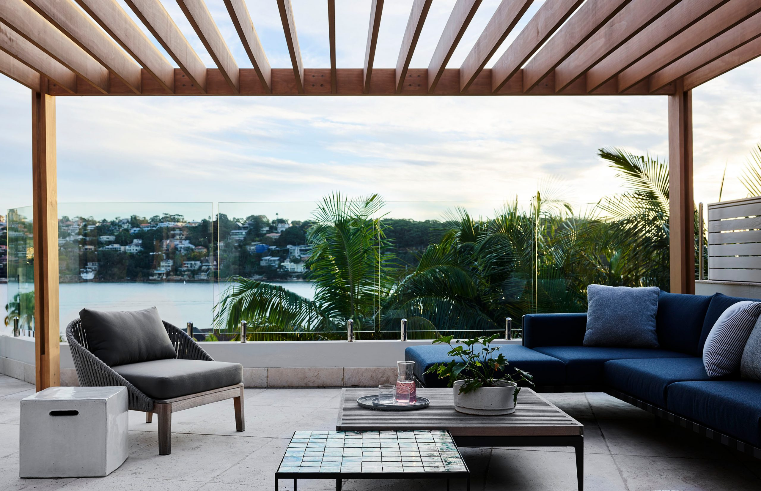 Outdoor lounge & water view